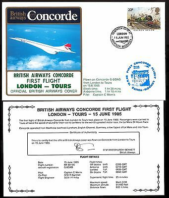 15.6.1985 Ba Concorde First Flown Cover_ London - Tours