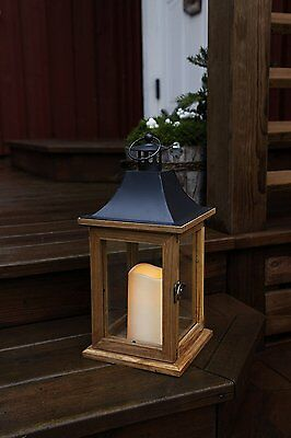 Romantic Decorative XL LED Lantern with Door, Made from Wood, Glass and Metal, x