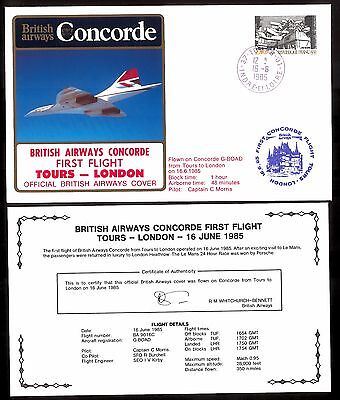 16.6.1985 Ba Concorde First Flown Cover_ Tours - London