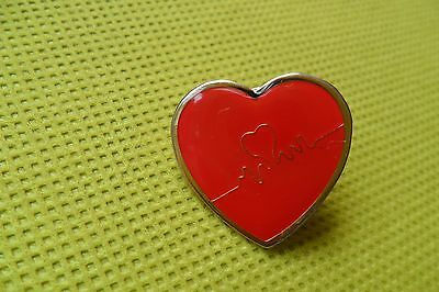 British heart foundation charity red heart pin label badge