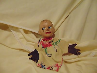 """vintage Minerva Hand Puppet with paint boys wooden face 8"""" long"""