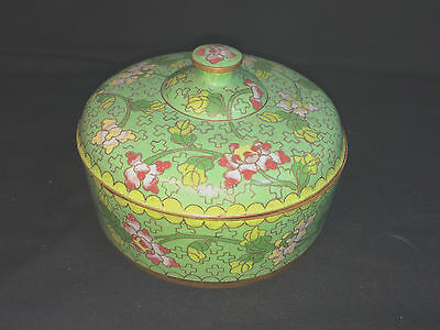 Antique Cloisonne Lidded Round Box Marked China Green Chinese