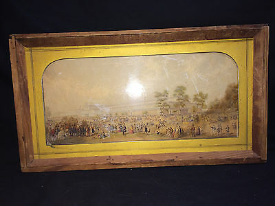 The Crystal Palace Print Framed In Wood Antique English History Brass Matte