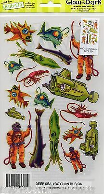 Rub On Transfers DEEP SEA Glow In The Dark Acid Free Card Making ROY719N
