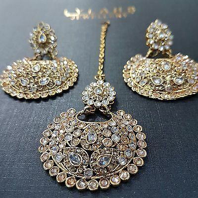 Indian Jewellery Earrings Set Tikka -  Fashion Jewellery Gold + White Antique