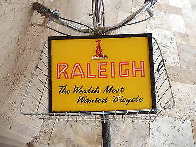 "Vintage Original Counter Top "" Raleigh Most Wanted Bicycle "" Tin Sign 10 x 14 """