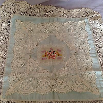 """1919 Souvenir Of France 21"""" Satin And Lace Pillow"""