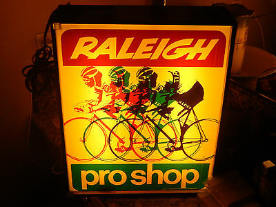 Vintage  Double Side Window Raleigh Pro Shop Racing Bicycle Light Up Sign
