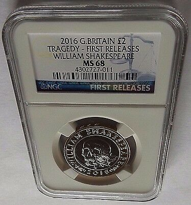 2016 G. Britain Ngc First Releases Ms68 William Shakespeare-Tragedy 2Pnd Coin!