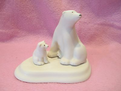 "Alaska by Kay - Ceramic Figurine - Polar Bears - Mama & Cub - 3.5"" tall"