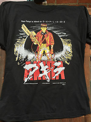 AKIRA KANEDA Black Sreen Stars T-SHIRT Large ANIME JAPAN '92 VINTAGE DEAD STOCK
