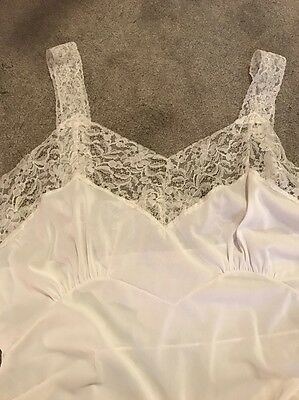 1950s Vintage Saks Fifth Avenue White Lacey Slip, Lots of Lace, Oversized
