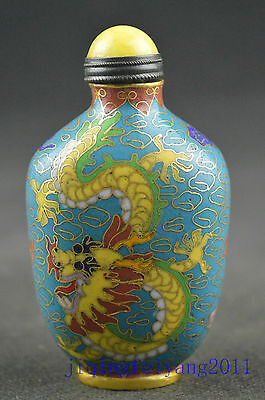 Chinese collectable lucky cloisonne handwork carve dragon noble snuff bottle