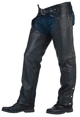 Unisex Premium Cowhide Motorcycle Chaps with Coin Pocket (CH326)