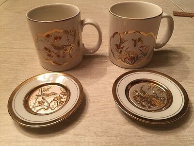 Lot of Copper Gold Silver Chokin hummingbird Coffee Tea  Mugs and saucers