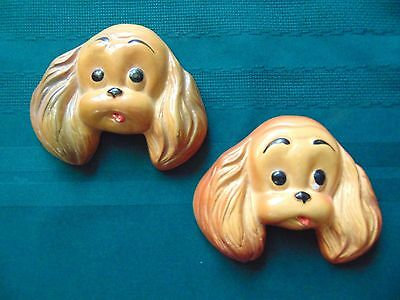 Pair of Puppy Dog COCKER SPANIEL Vintage Ceramic Wall Plaques