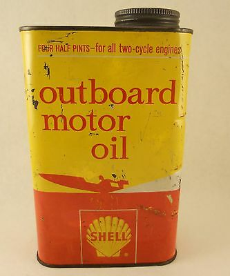 Vintage Shell Outboard Motor Oil Can Quart Metal Can