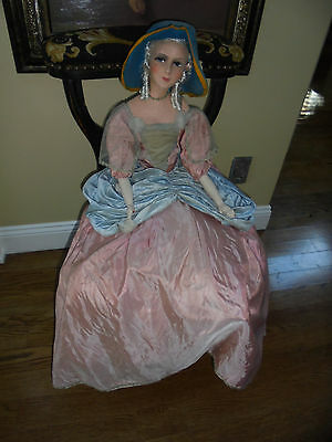 Antique 1920s 33 inch French Boudoir Doll  With Original Dress And Hat