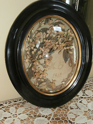 Antique Victorian French Wax Flower Sentimental Mourning Piece~ Convex Glass