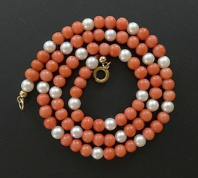 Victorian Vtg Natural Red Carved Coral Bead & Genuine Pearl Necklace Antique