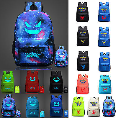 Kids Boys Girl Pokemon Go Team Travel Backpack Shoulder School Rucksack Book Bag