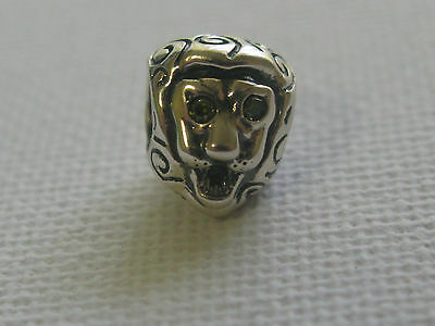 Retired Authentic Pandora Sterling Silver Lion Head bead charm 790443CZY