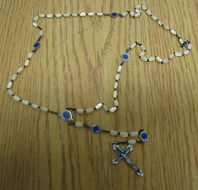 rosary mother of pearl medal attached by small medal enamel