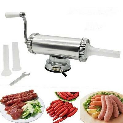 2lbs Aluminum Sausage Stuffer Maker Machine with 3 Nozzles with suction base