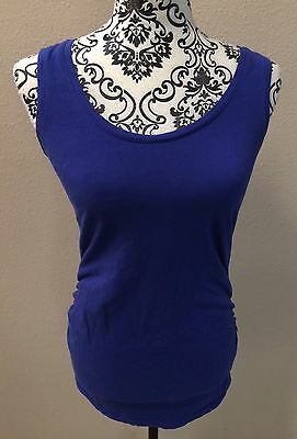 Motherhood Maternity Small S Sleeveless Shirt Top Blue Tagless Ruched Sides