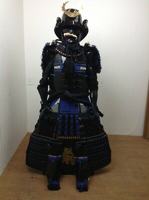 The Kabuto and Armor Full Set Japanese Traditional  Used By SAMURAI,Blue & Moon