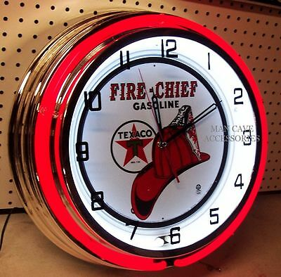 "18"" TEXACO Fire Chief Gasoline Motor Oil Gas Station Sign Double Neon Clock"