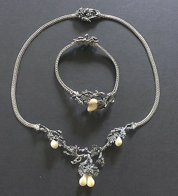 VTG Deer Tooth 835 Silver Lavalier Necklace Bracelet Set Hunter Trophy Antique