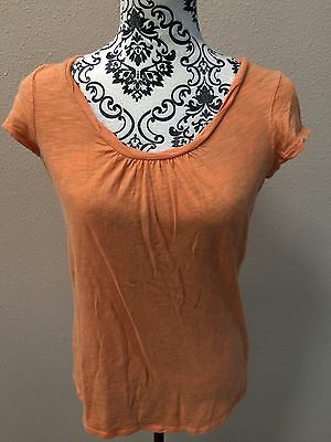 Motherhood Maternity Small S Orange Scoop Neck Shirt Top Short Sleeve