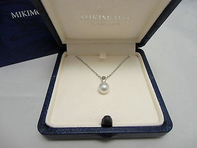 New! Mikimoto Pearl Sterling Silver Single 7mm Akoya Pearl Pendant Gift Wrap