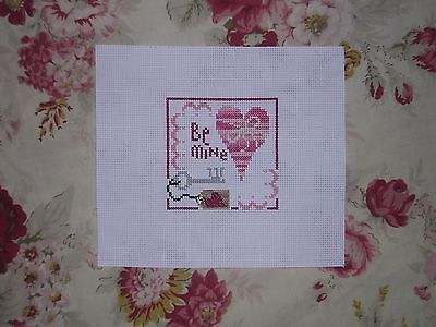Completed Cross Stitch Bent Creek Be Mine Valentine Heart Silver Snap Ornament..