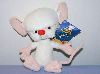 """Pinky and the Brain Animaniacs plush stuffed white mouse toy with tag Dakin 7"""""""