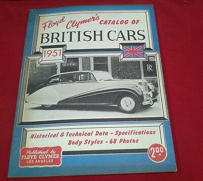 Floyd Clymer's Catalog of British Cars, 1951, RR, 68 photos, 112 pages