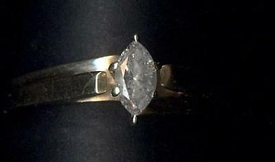 10K 1/4 .25 Carat TCW Solid Yellow Gold Sz. 5 Marquise Diamond Solitaire Ring eG