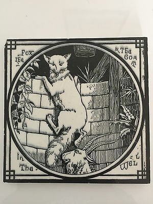 """Aesops Fables Mintons Victorian  6"""" ceramic tile: the Fox & the Goat in the Well"""