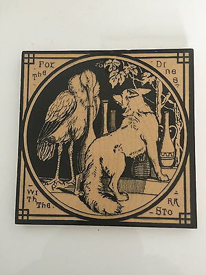 """Aesops Fables Mintons Victorian  6"""" ceramic tile: the Fox & the Stork"""