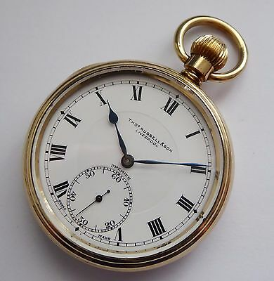 Antique 1900 Thomas Russel Liverpool Elgin Premier Gold Plate Pocket Watch LAYBY