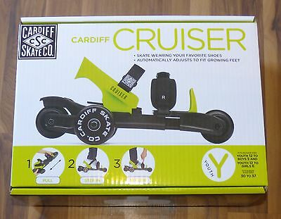 NEW Cardiff Skate YOUTH Cruiser 3 Wheel Adjustable Size Roller Skate Green