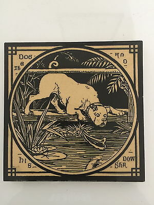 """Aesops Fables Mintons Victorian  6"""" ceramic tile: the Dog & his Shadow"""