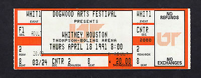 1991 Whitney Houston unused concert ticket Knoxville TN  I'm Your Baby Tonight