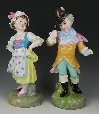 "Antique 19C french Levy & Cie pair of figurines ""Peasant Girl & Noble Boy"" World"