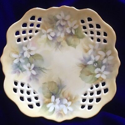 Pretty Hand Painted White Violets On Fancy Pierced Square Bone China Plate
