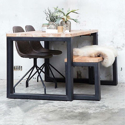 industrie esstisch 200 x 100 cm esszimmertisch dinnertisch massivholz metall neu eur 679 00. Black Bedroom Furniture Sets. Home Design Ideas