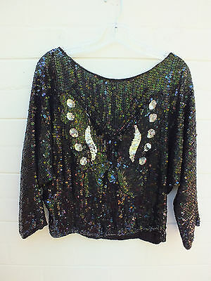 GLAM Retro Vintage SEQUIN Butterfly TOP Blouse EMBELISHED SHIRT