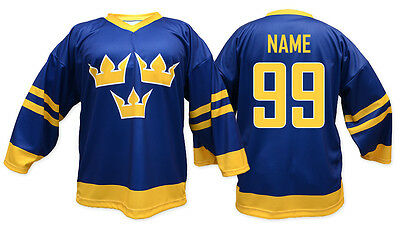 Team Sweden BLUE Ice Hockey Jersey Custom Name and Number