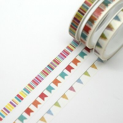 Washi Tape - 3 Piece Set Slim Skinny - Colourful Bunting and Stripes Planner Dec